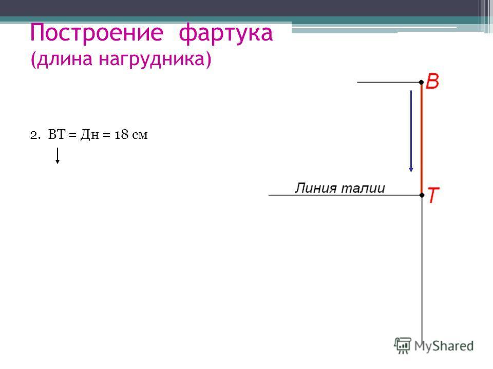Построение фартука (длина нагрудника) 2. ВТ = Дн = 18 см