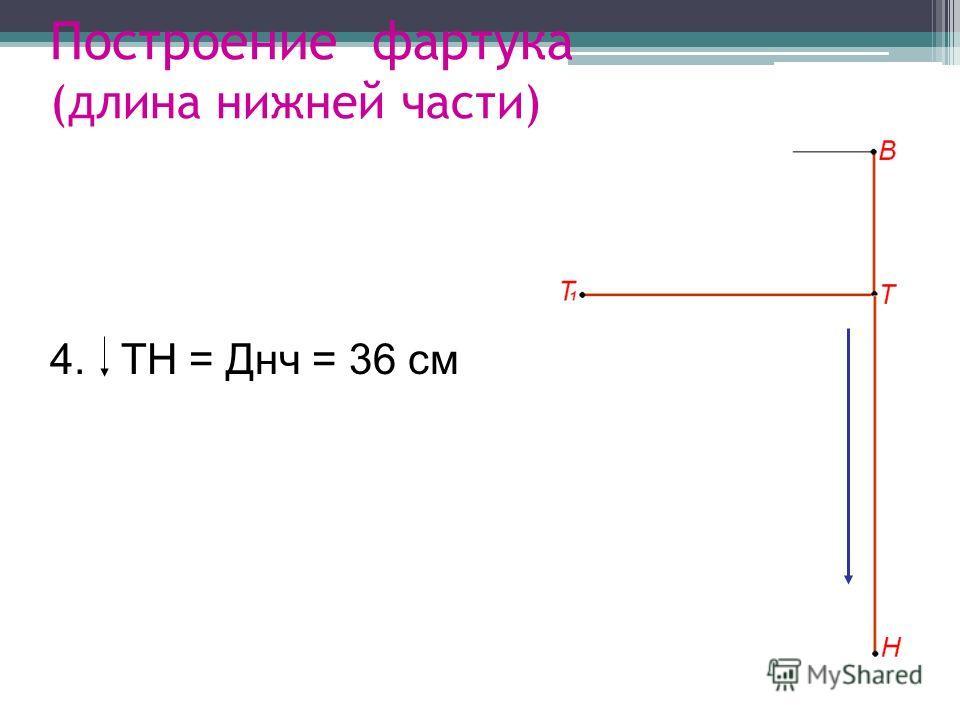 Построение фартука (длина нижней части) 4. ТН = Днч = 36 см