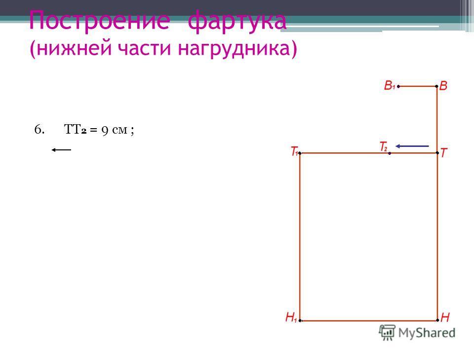 Построение фартука (нижней части нагрудника) 6. ТТ 2 = 9 см ;