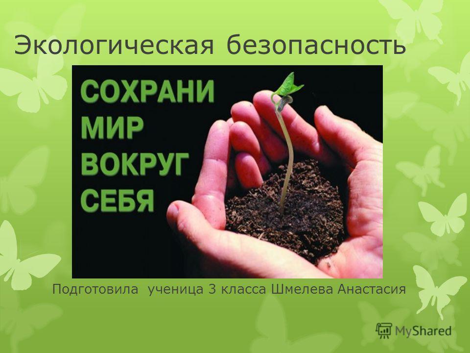 Экологическая безопасность Подготовила ученица 3 класса Шмелева Анастасия