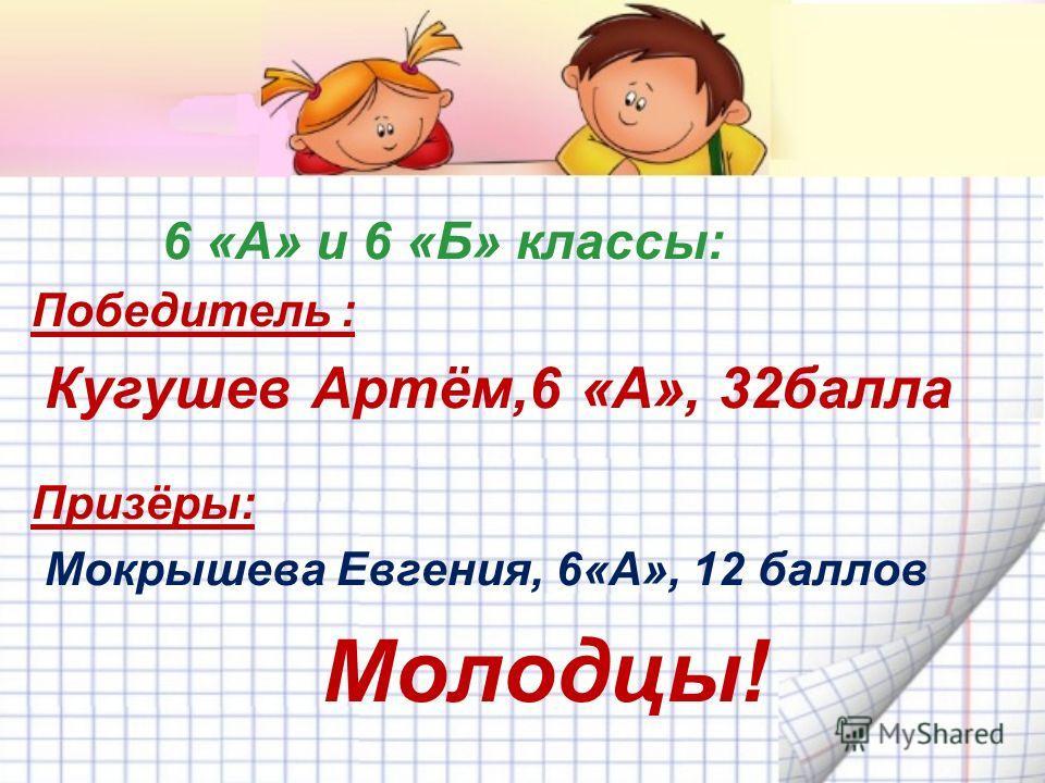 6 «А» и 6 «Б» классы: Победитель : Кугушев Артём,6 «А», 32 балла Призёры: Мокрышева Евгения, 6«А», 12 баллов Молодцы!
