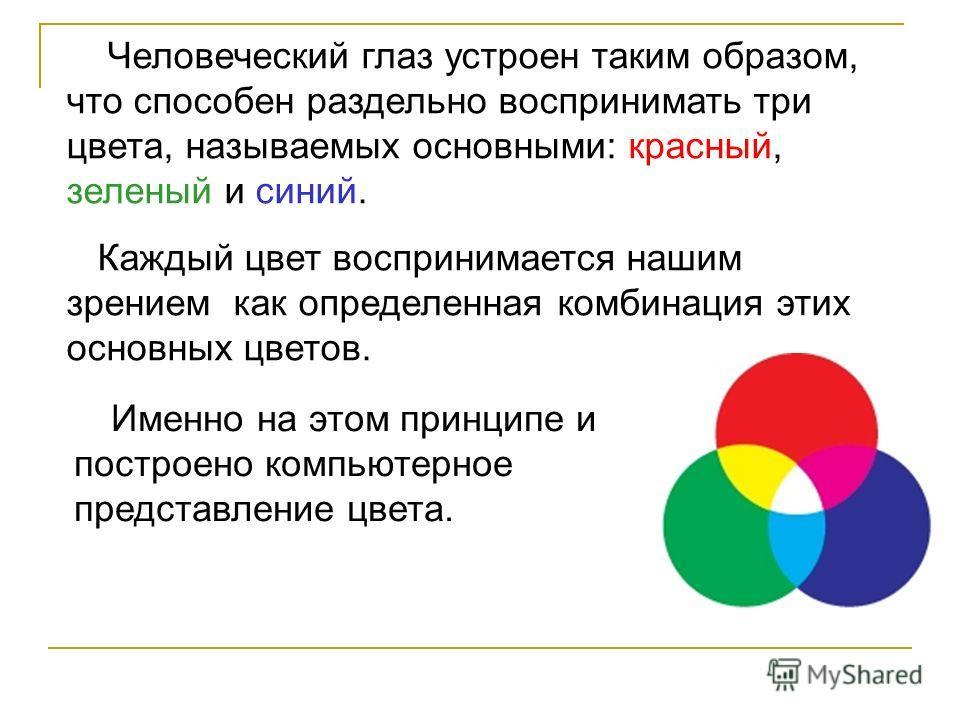 Человеческий глаз устроен таким образом, что способен раздельно воспринимать три цвета, называемых основными: красный, зеленый и синий. Каждый цвет воспринимается нашим зрением как определенная комбинация этих основных цветов. Именно на этом принципе