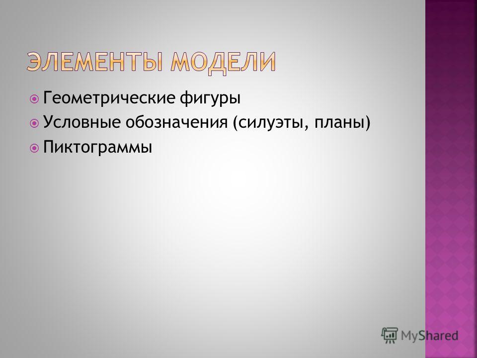 Геометрические фигуры Условные обозначения (силуэты, планы) Пиктограммы