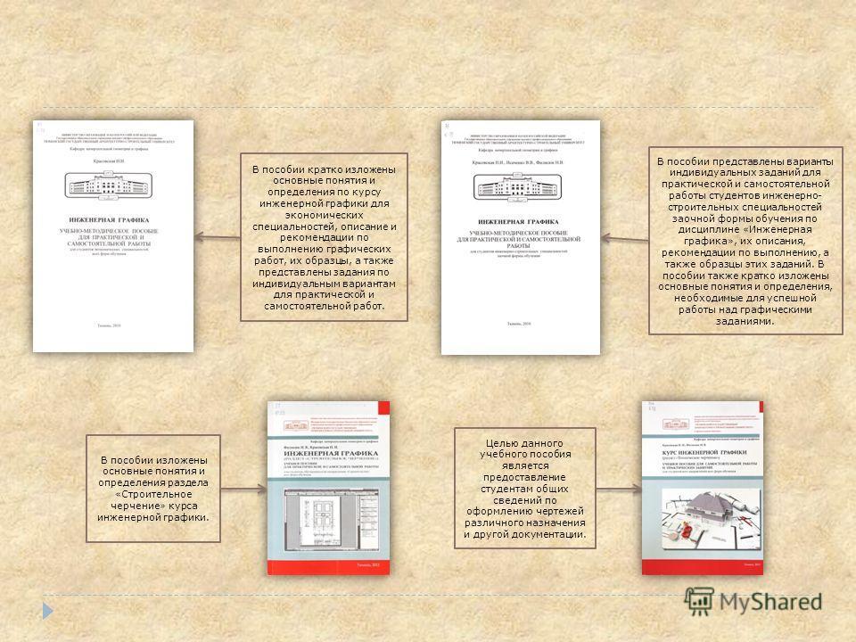 В пособии изложены основные понятия и определения раздела «Строительное черчение» курса инженерной графики. В пособии кратко изложены основные понятия и определения по курсу инженерной графики для экономических специальностей, описание и рекомендации
