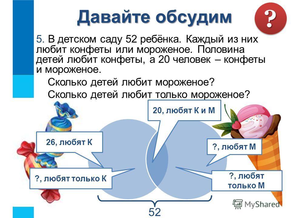 5. В детском саду 52 ребёнка. Каждый из них любит конфеты или мороженое. Половина детей любит конфеты, а 20 человек – конфеты и мороженое. Сколько детей любит мороженое? Сколько детей любит только мороженое? Давайте обсудим ?? 20, любят К и М 26, люб