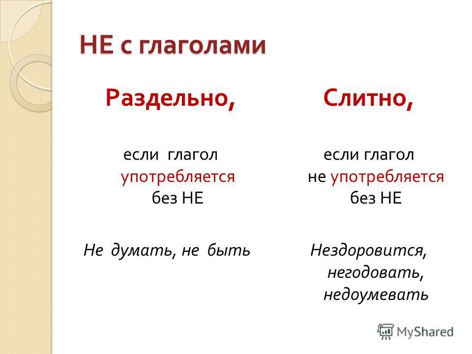 НЕ с глаголами Раздельно, если глагол употребляется без НЕ Не думать, не быть Слитно, если глагол не употребляется без НЕ Нездоровится, негодовать, недоумевать