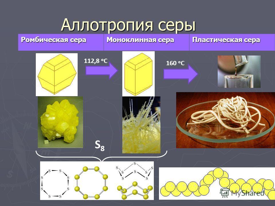 Аллотропия серы Ромбическая сера Моноклинная сера Пластическая сера 112,8 о С 160 о С S8S8