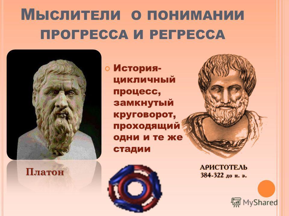 М ЫСЛИТЕЛИ О ПОНИМАНИИ ПРОГРЕССА И РЕГРЕССА История- цикличный процесс, замкнутый круговорот, проходящий одни и те же стадии Платон