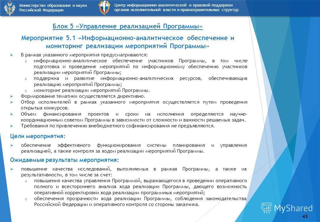 Блок 5 «Управление реализацией Программы» Мероприятие 5.1 «Информационно-аналитическое обеспечение и мониторинг реализации мероприятий Программы» В рамках указанного мероприятия предусматриваются: o информационно-аналитическое обеспечение участников