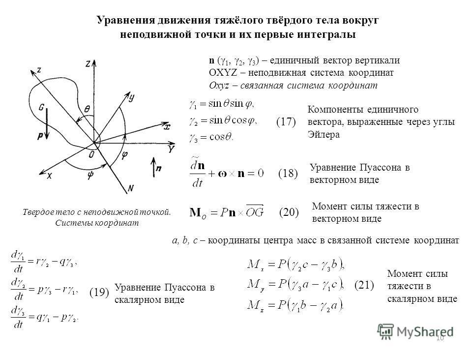 10 Уравнения движения тяжёлого твёрдого тела вокруг неподвижной точки и их первые интегралы n (γ 1, γ 2, γ 3 ) – единичный вектор вертикали OXYZ – неподвижная система координат Oxyz – связанная система координат Твердое тело с неподвижной точкой. Сис