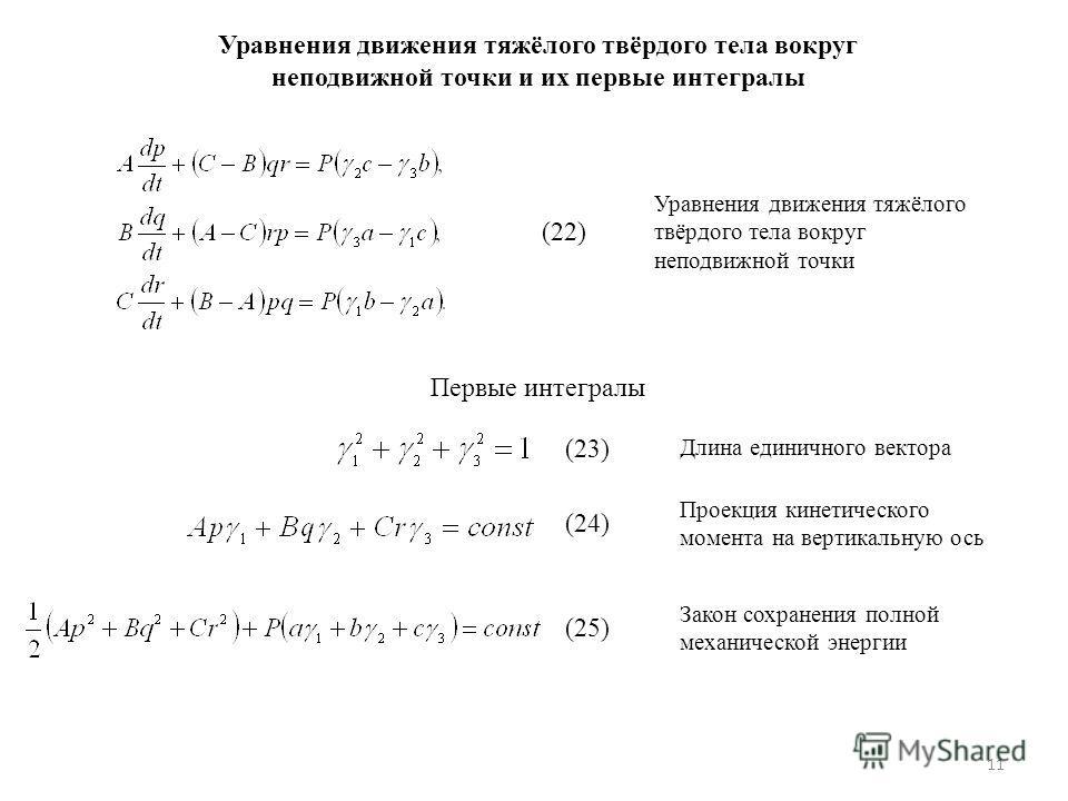 11 Уравнения движения тяжёлого твёрдого тела вокруг неподвижной точки и их первые интегралы (22) Уравнения движения тяжёлого твёрдого тела вокруг неподвижной точки Первые интегралы (23) Длина единичного вектора (24) Проекция кинетического момента на