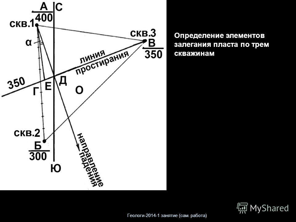 Определение элементов залегания пласта по трем скважинам Геологи-2014-1 занятие (сам. работа)