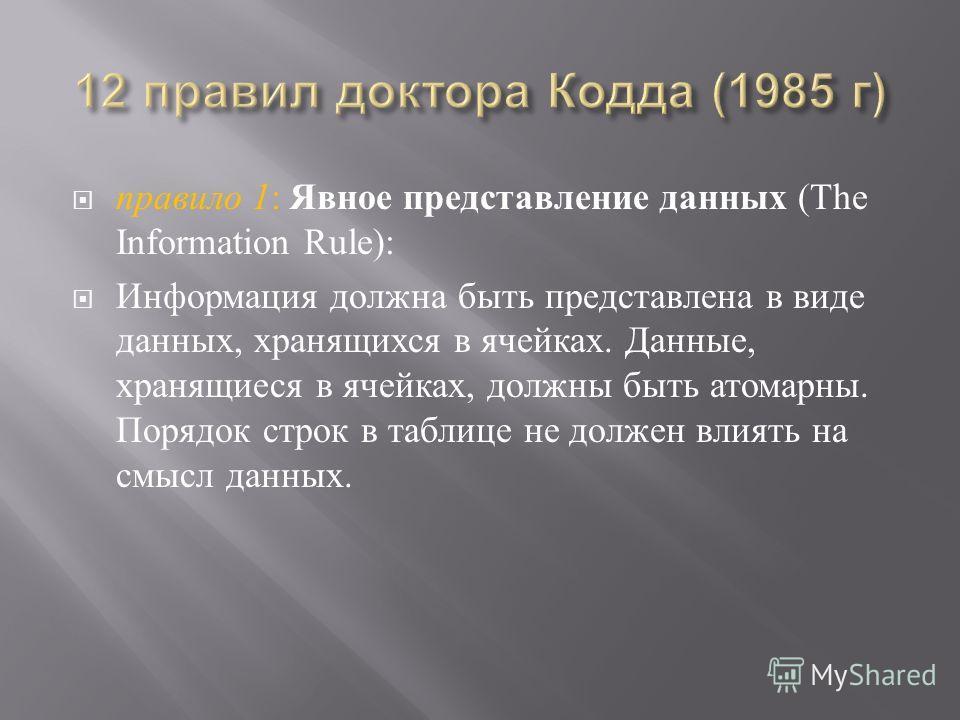 правило 1 : Явное представление данных (The Information Rule): Информация должна быть представлена в виде данных, хранящихся в ячейках. Данные, хранящиеся в ячейках, должны быть атомарны. Порядок строк в таблице не должен влиять на смысл данных.