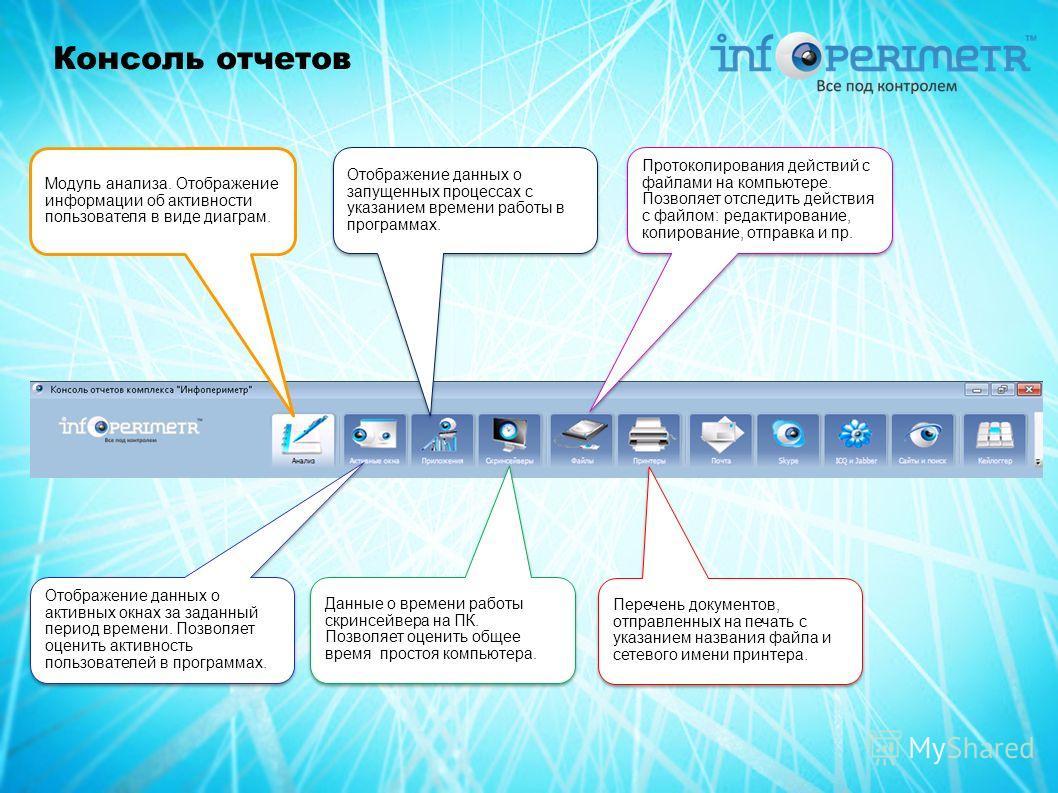 Консоль отчетов Модуль анализа. Отображение информации об активности пользователя в виде диаграм. Отображение данных о активных окнах за заданный период времени. Позволяет оценить активность пользователей в программах. Отображение данных о запущенных