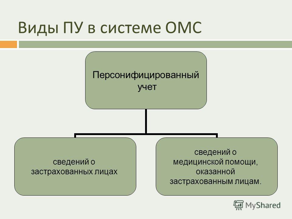 Виды ПУ в системе ОМС Персонифицированный учет сведений о застрахованных лицах сведений о медицинской помощи, оказанной застрахованным лицам.