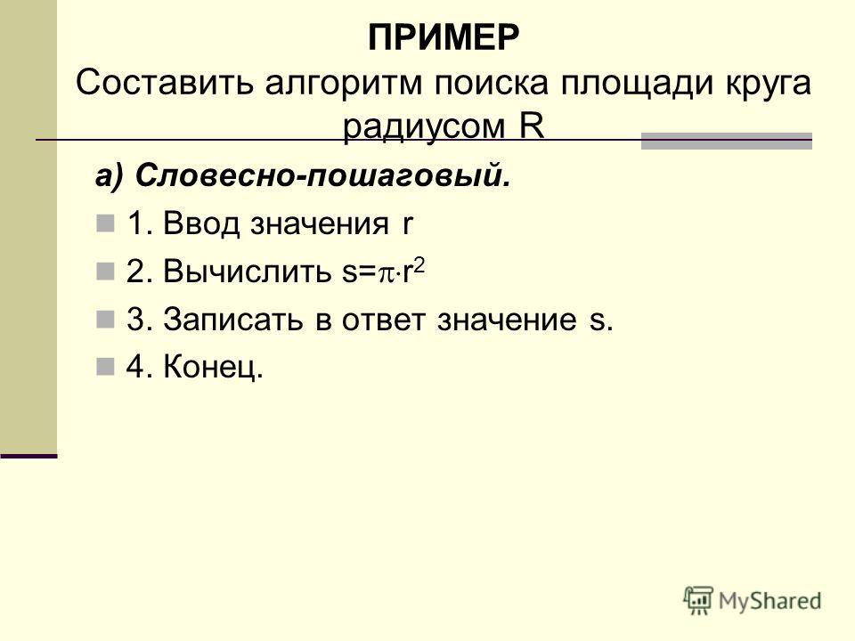 ПРИМЕР Составить алгоритм поиска площади круга радиусом R а) Словесно-пошаговый. 1. Ввод значения r 2. Вычислить s= r 2 3. Записать в ответ значение s. 4. Конец.