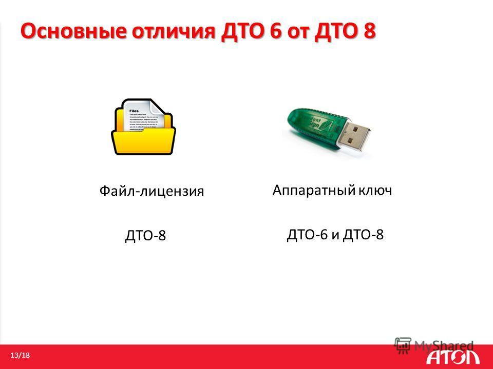 Файл-лицензия 13/18 ДТО-8 Аппаратный ключ ДТО-6 и ДТО-8 Основные отличия ДТО 6 от ДТО 8