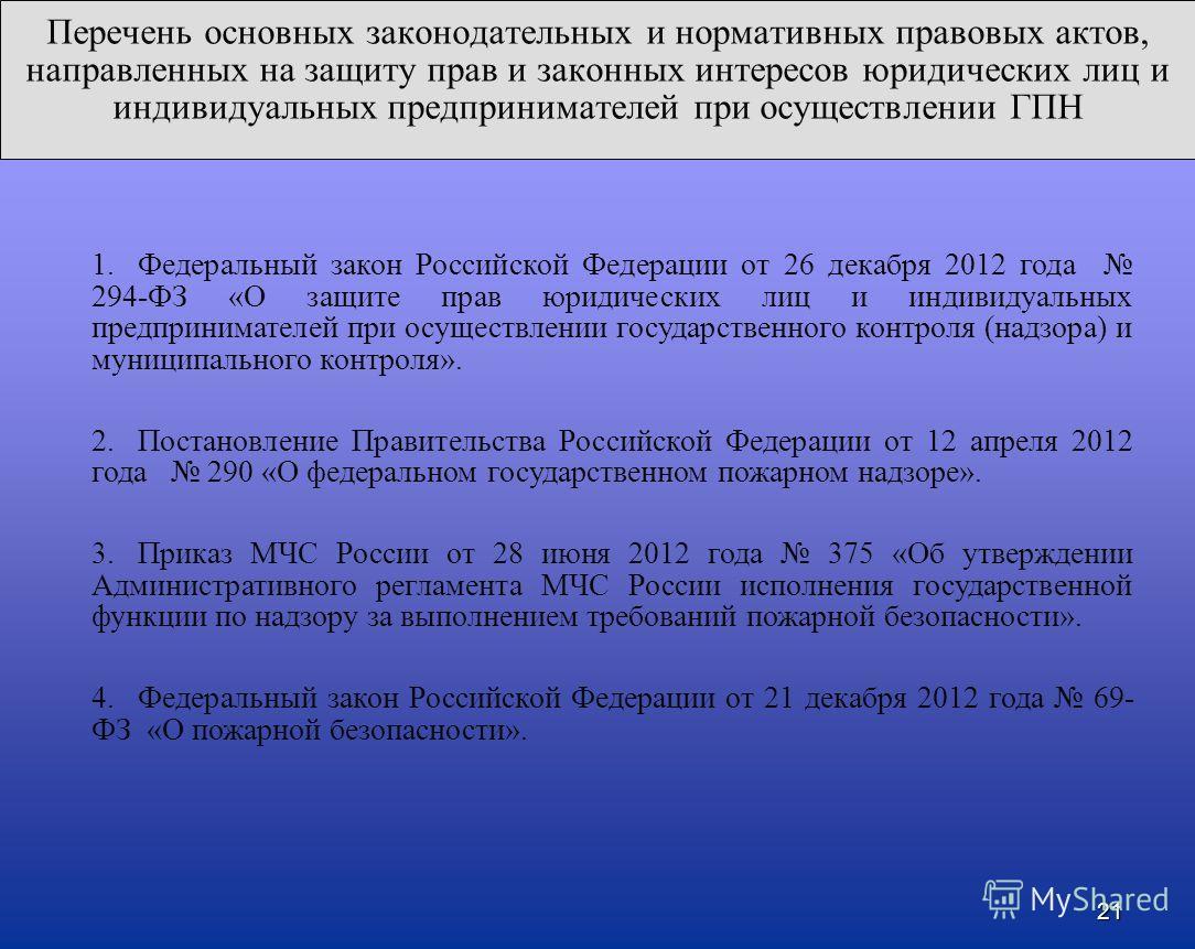 Перечень основных законодательных и нормативных правовых актов, направленных на защиту прав и законных интересов юридических лиц и индивидуальных предпринимателей при осуществлении ГПН 21 1. Федеральный закон Российской Федерации от 26 декабря 2012 г