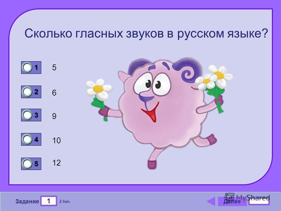 Далее 1 Задание 2 бал. 1111 2222 3333 4444 5555 Сколько гласных звуков в русском языке? 5 9 6 10 12