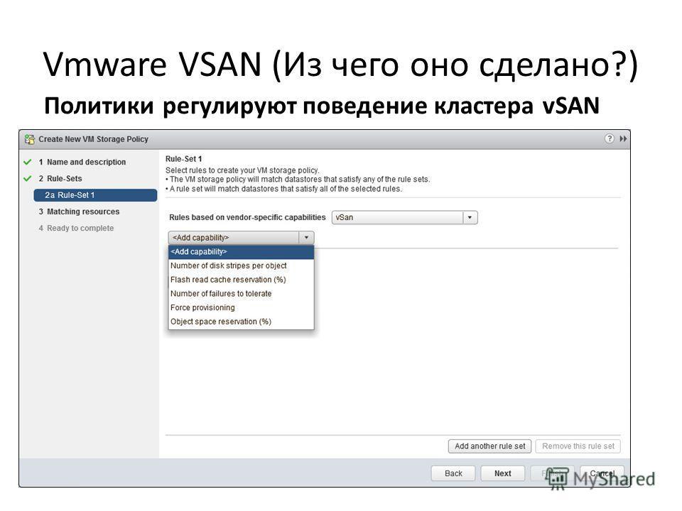Vmware VSAN (Из чего оно сделано?) Политики регулируют поведение кластера vSAN