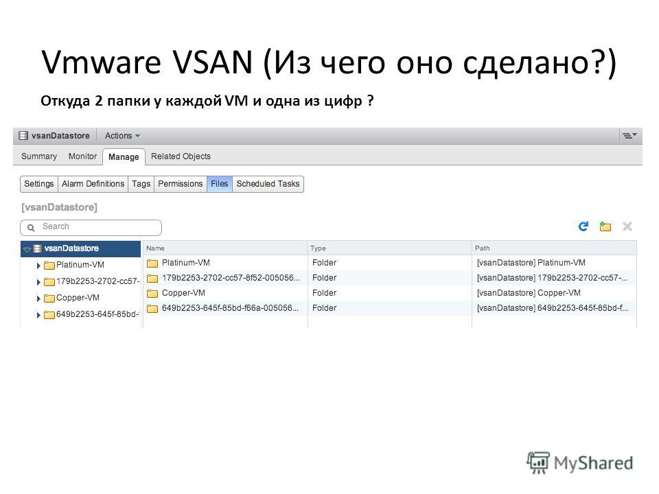 Откуда 2 папки у каждой VM и одна из цифр ?