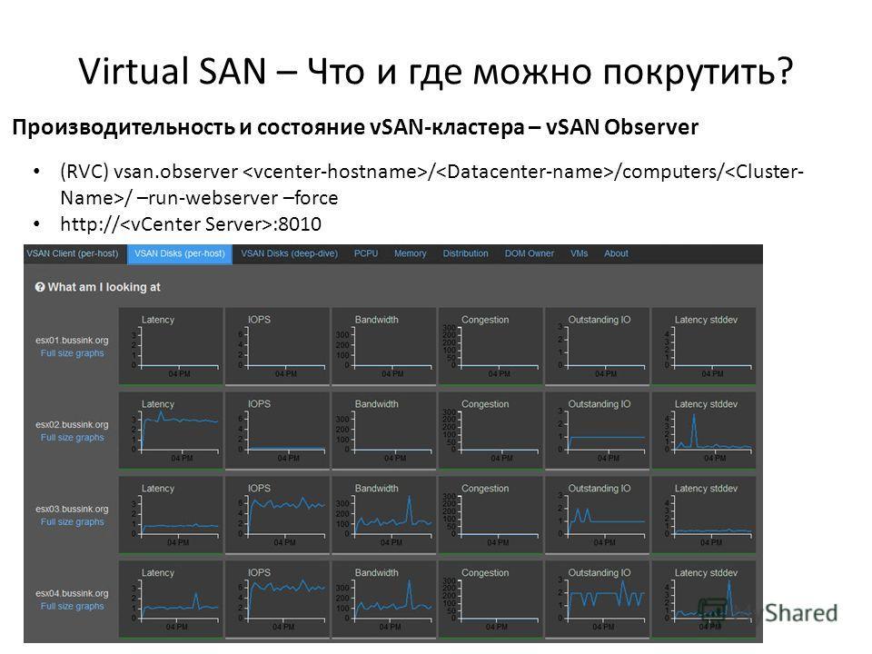 Virtual SAN – Что и где можно покрутить? 58 Производительность и состояние vSAN-кластера – vSAN Observer (RVC) vsan.observer / /computers/ / –run-webserver –force http:// :8010
