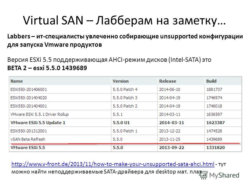 Virtual SAN – Лабберам на заметку… 59 Labbers – ит-специалисты увлеченно собирающие unsupported конфигурации для запуска Vmware продуктов Версия ESXi 5.5 поддерживающая AHCI-режим дисков (Intel-SATA) это BETA 2 – esxi 5.5.0 1439689 http://www.v-front