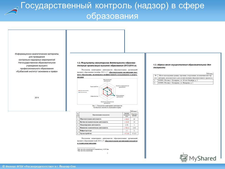 © Филиал ФГБУ «Росаккредагентство» в г. Йошкар-Оле Государственный контроль (надзор) в сфере образования