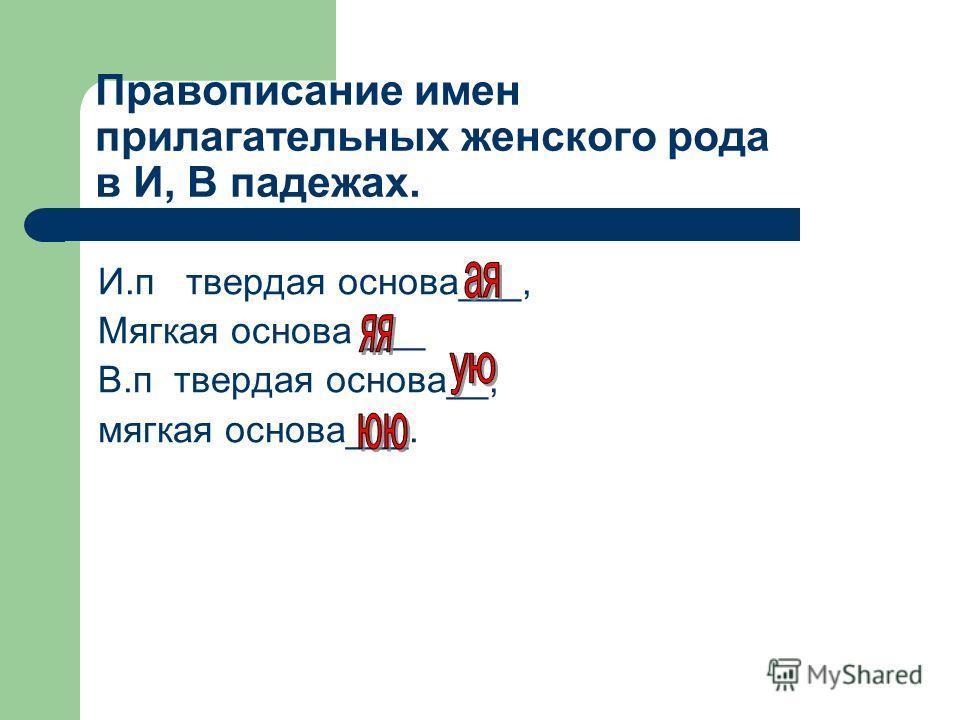 Правописание имен прилагательных женского рода в И, В падежах. И.п твердая основа___, Мягкая основа ___ В.п твердая основа__, мягкая основа___.