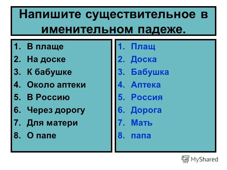 Напишите существительное в именительном падеже. 1. В плаще 2. На доске 3. К бабушке 4. Около аптеки 5. В Россию 6. Через дорогу 7. Для матери 8. О папе 1. Плащ 2. Доска 3. Бабушка 4. Аптека 5. Россия 6. Дорога 7. Мать 8.папа