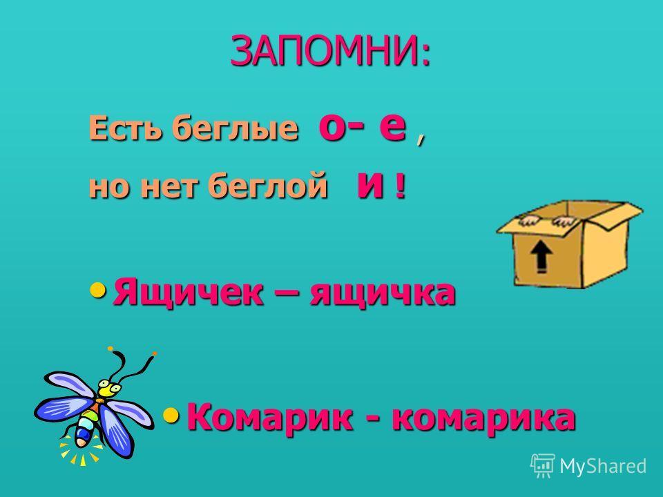 ЗАПОМНИ : Есть беглые о- е, но нет беглой и ! Ящичек – ящичка Комарик - комарика