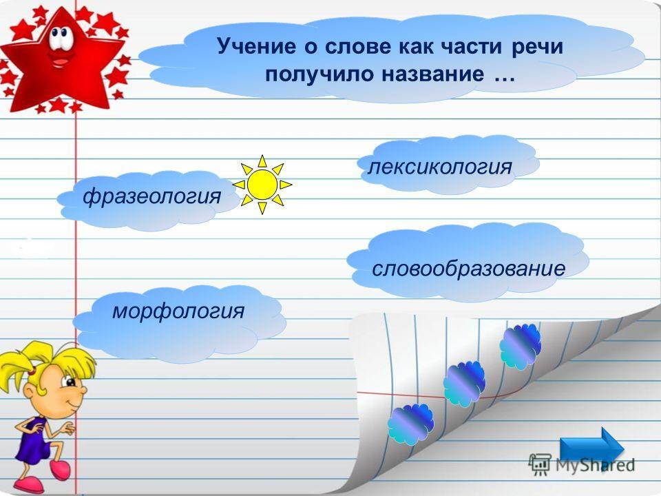 Учение о слове как части речи получило название … морфология фразеология лексикология словообразование