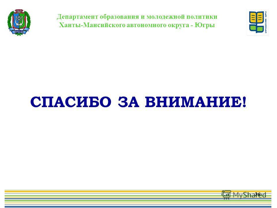 Департамент образования и молодежной политики Ханты-Мансийского автономного округа - Югры СПАСИБО ЗА ВНИМАНИЕ! 36