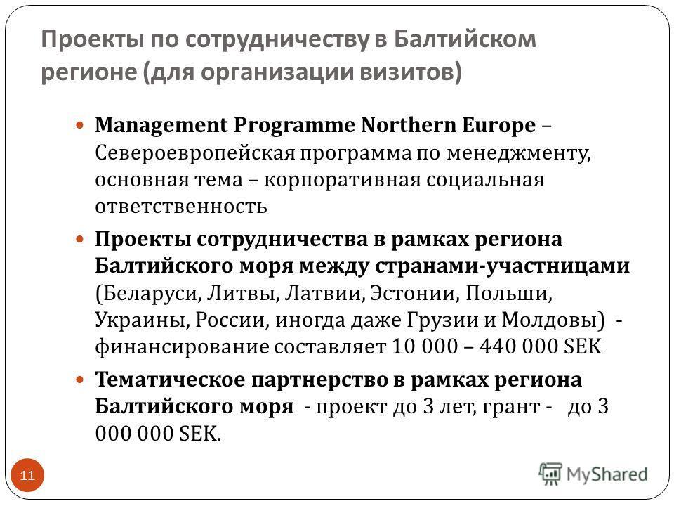 Проекты по сотрудничеству в Балтийском регионе ( для организации визитов ) 11 Management Programme Northern Europe – Североевропейская программа по менеджменту, основная тема – корпоративная социальная ответственность Проекты сотрудничества в рамках