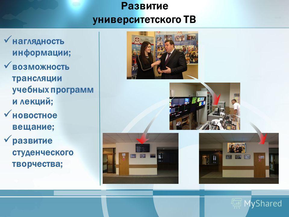 Развитие университетского ТВ наглядность информации; возможность трансляции учебных программ и лекций; новостное вещание; развитие студенческого творчества;