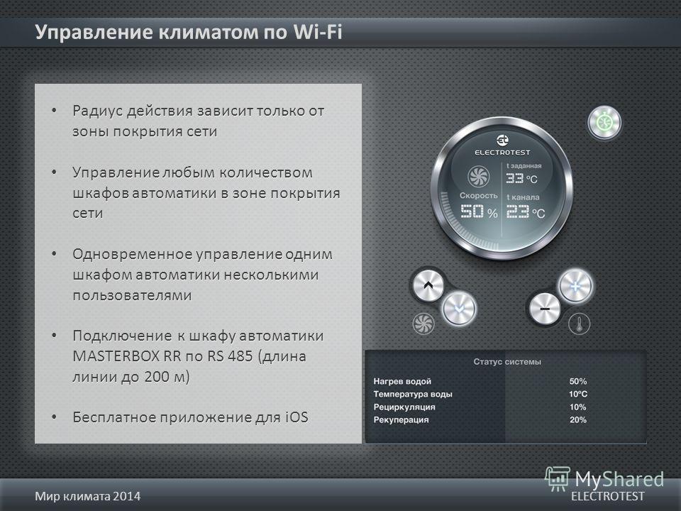 Управление климатом по Wi-Fi ELECTROTESTМир климата 2014 Радиус действия зависит только от зоны покрытия сети Управление любым количеством шкафов автоматики в зоне покрытия сети Одновременное управление одним шкафом автоматики несколькими пользовател