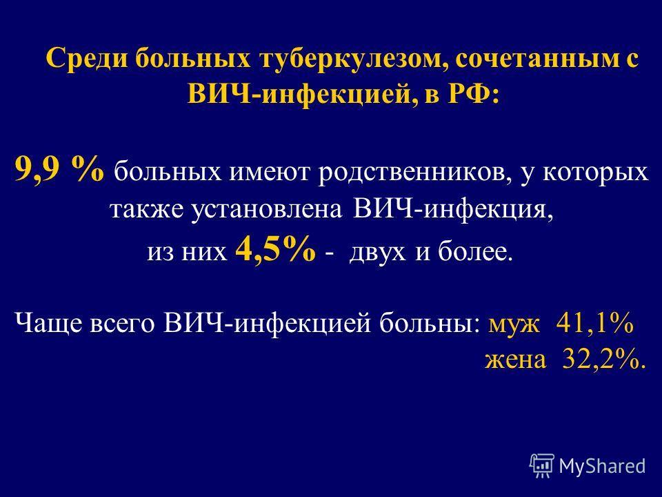 Среди больных туберкулезом, сочетанным с ВИЧ-инфекцией, в РФ: 9,9 % больных имеют родственников, у которых также установлена ВИЧ-инфекция, из них 4,5% - двух и более. Чаще всего ВИЧ-инфекцией больны: муж 41,1% жена 32,2%.