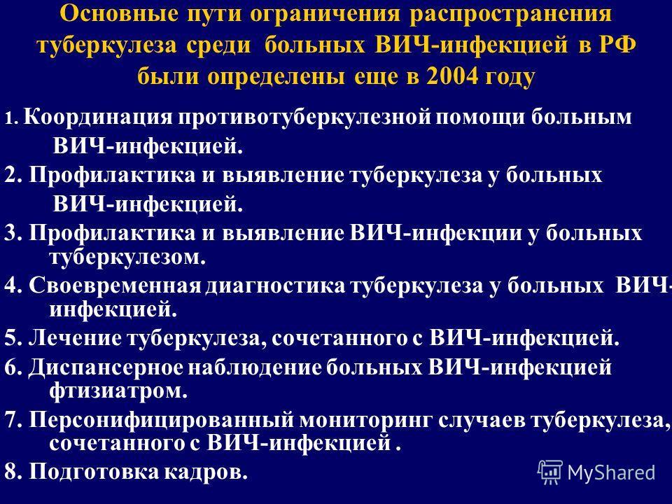 Основные пути ограничения распространения туберкулеза среди больных ВИЧ-инфекцией в РФ были определены еще в 2004 году 1. Координация противотуберкулезной помощи больным ВИЧ-инфекцией. 2. Профилактика и выявление туберкулеза у больных ВИЧ-инфекцией.