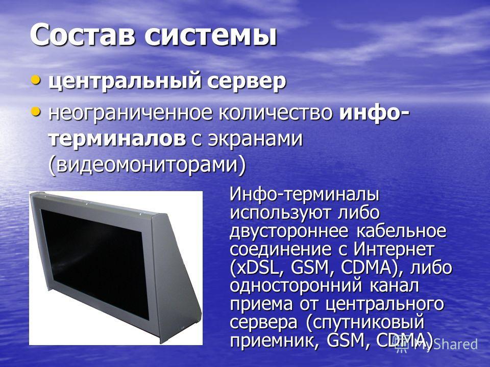 Состав системы центральный сервер центральный сервер неограниченное количество инфо- терминалов с экранами (видеомониторами) неограниченное количество инфо- терминалов с экранами (видеомониторами) Инфо-терминалы используют либо двустороннее кабельное