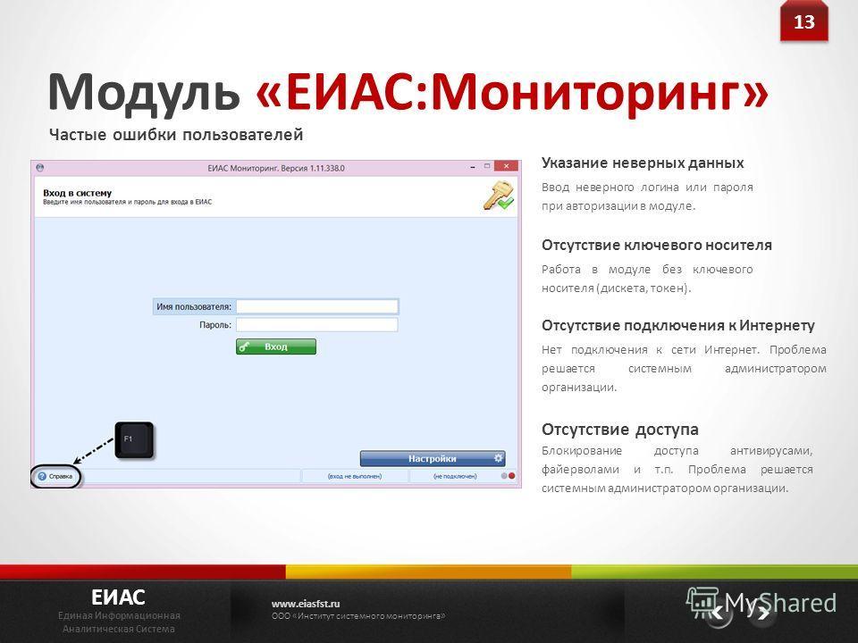 Модуль «ЕИАС:Мониторинг» Частые ошибки пользователей Ввод неверного логина или пароля при авторизации в модуле. Указание неверных данных Работа в модуле без ключевого носителя (дискета, токен). Отсутствие ключевого носителя Нет подключения к сети Инт