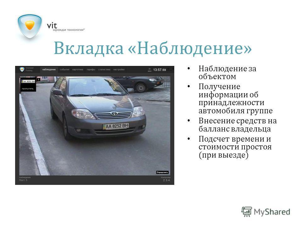 Вкладка « Наблюдение » Наблюдение за объектом Получение информации об принадлежности автомобиля группе Внесение средств на балланс владельца Подсчет времени и стоимости простоя (при выезде)