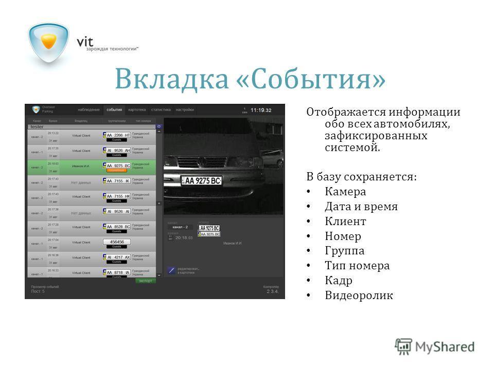 Вкладка « События » Отображается информации обо всех автомобилях, зафиксированных системой. В базу сохраняется: Камера Дата и время Клиент Номер Группа Тип номера Кадр Видеоролик