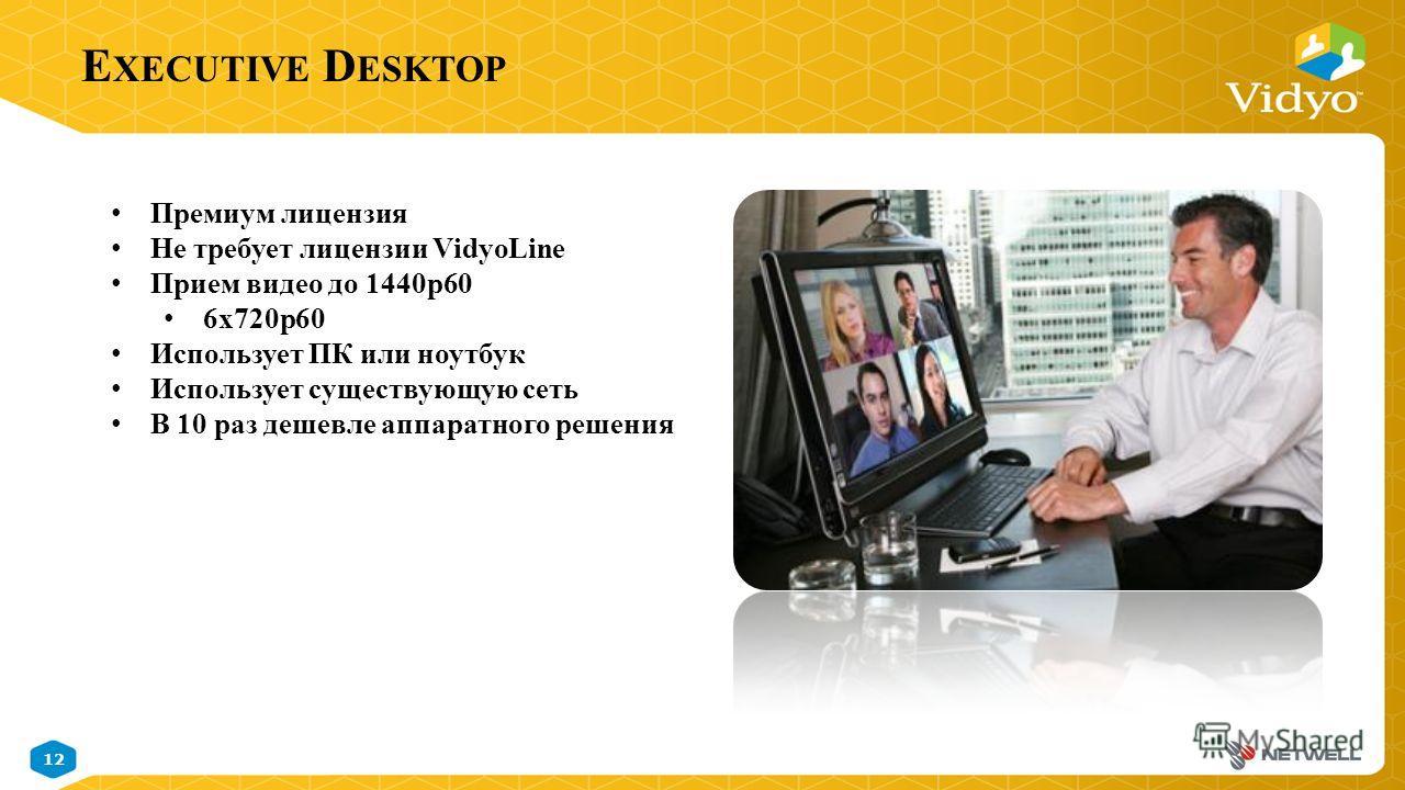 12 November 9, 2014 Vidyo Proprietary Confidential & Patent Pending Information E XECUTIVE D ESKTOP Премиум лицензия Не требует лицензии VidyoLine Прием видео до 1440p60 6x720p60 Использует ПК или ноутбук Использует существующую сеть В 10 раз дешевле