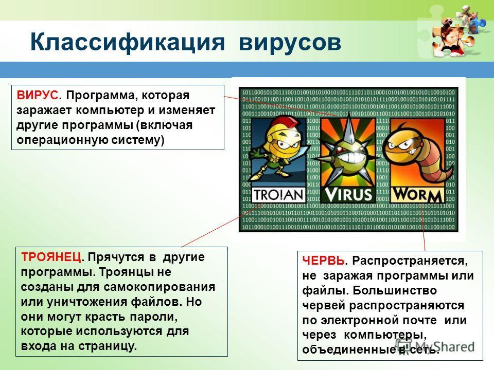 Классификация вирусов ЧЕРВЬ. Распространяется, не заражая программы или файлы. Большинство червей распространяются по электронной почте или через компьютеры, объединенные в сеть. ВИРУС. Программа, которая заражает компьютер и изменяет другие программ