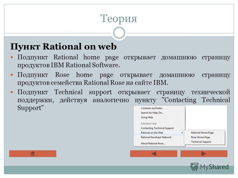 Теория Пункт Rational on web Подпункт Rational home page открывает домашнюю страницу продуктов IBM Rational Software. Подпункт Rose home page открывает домашнюю страницу продуктов семейства Rational Rose на сайте IBM. Подпункт Technical support откры