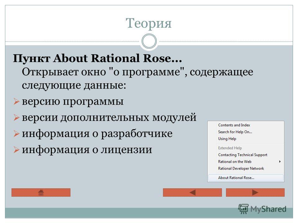 Теория Пункт About Rational Rose... Открывает окно о программе, содержащее следующие данные: версию программы версии дополнительных модулей информация о разработчике информация о лицензии