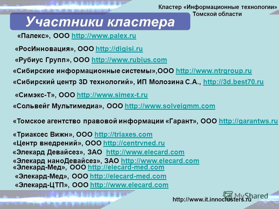 «Палекс», ООО http://www.palex.ruhttp://www.palex.ru «Рубиус Групп», ООО http://www.rubius.comhttp://www.rubius.com «Сибирские информационные системы»,ООО http://www.ntrgroup.ruhttp://www.ntrgroup.ru «Сибирский центр 3D технологий», ИП Молозина С.А.,