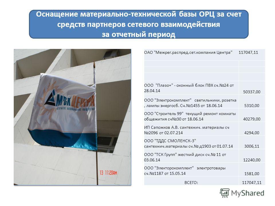 Оснащение материально-технической базы ОРЦ за счет средств партнеров сетевого взаимодействия за отчетный период ОАО