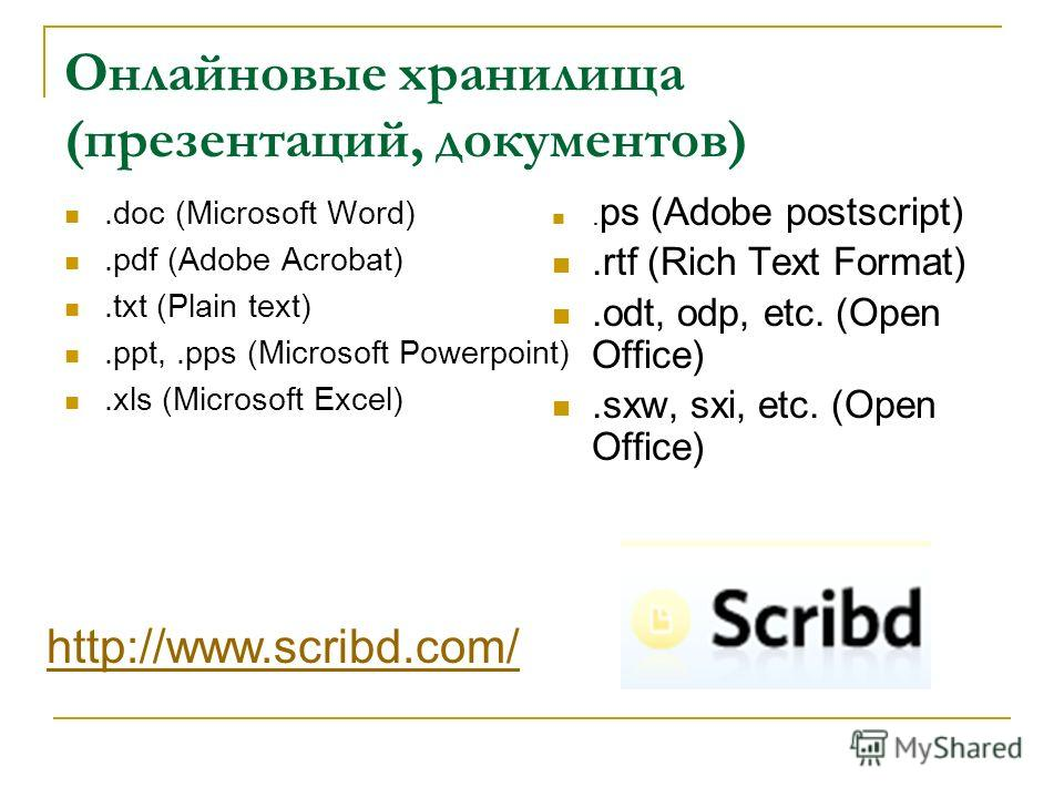 Онлайновые хранилища (презентаций, документов).doc (Microsoft Word).pdf (Adobe Acrobat).txt (Plain text).ppt,.pps (Microsoft Powerpoint).xls (Microsoft Excel). ps (Adobe postscript).rtf (Rich Text Format).odt, odp, etc. (Open Office).sxw, sxi, etc. (