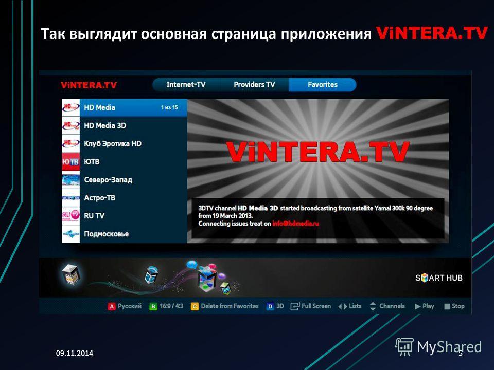 09.11.20145 Так выглядит основная страница приложения ViNTERA.TV